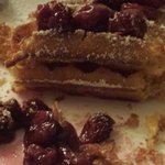 fresh and tasty waffel with cinnamon and wsrm cherries :)