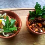 Try our warm smoked salmon or spicy chorizo & chickpea tapas