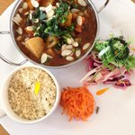 Lebanese style black bean stew with its fresh slaw