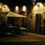 The outdoor tables on Placa de Sant Felip Neri