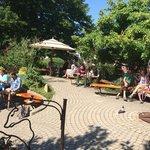 Outdoor seating and serene garden