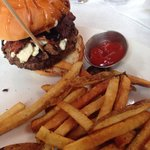 Bacon and Blue cheese burger with fries
