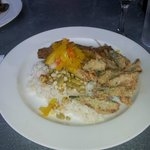 Pecan Crusted Trout with chow chow, rice, beans, fried Okra
