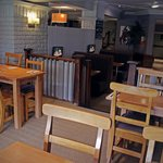 Restaurant area, small booths of 4 with private TV that sky sports or a kids film can be shown o