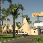 Wigwams on the grass.