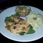 grilled cobia, garlic mash, cold slaw