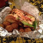 Lobster roll and hush puppies