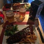 Slow cooked, chocolate & beer sauce ribs. Amazing!! We did the all you can eat and could only ea
