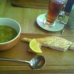 Lemon Lentil & Spinach soup & Cardamon tea