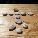 Playing with the stones in the tea garden