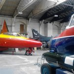 The aviation collection is housed in a listed Hangar, note the Belfast roof trusses.