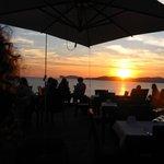 The restaurant deck at sunset : Villa Mosca