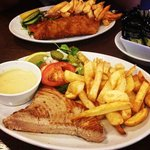 tuna steak & chips, battered cod & chips.