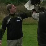 My husband with the Bald Eagle