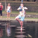 Balancing on the stepping stones at the water palace!