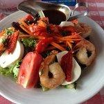 Caprese salad with shrimp