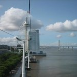 Cable car with hotel and Vasco da Gama tower