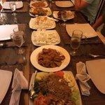 Dinner comprised of gado gado, pork rendang and satay.