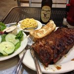 Half rack of ribs with 2 sides (and lager), about 20 bucks