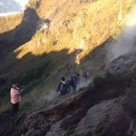 Cooking eggs for breakfast at the top of Mt. Batur