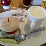 Chicken fried Steak Sandwich and Seafood Chowder