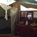 Bathroom in tent
