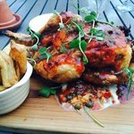 the roast chicken is delicious, the chips are very tasty too!