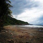 Black sand, secluded beach