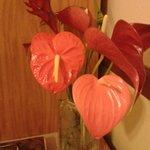 Decoração com flores frescas no quarto