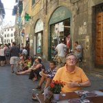 Street dining on the Via dei Neri; Corte dei Neri just out of sight