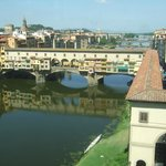 The Ponte Vecchio viewed from thre Uffizi Gallery is at the end of the Via dei Neri