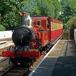 An Isle of Man Steam Railway train arrives at Ballasalla, hauled by engine no 4