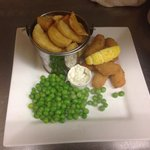 Scampi chips and peas