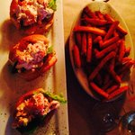 Lobster sliders with sweet potato fries