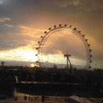 View of London Eye after the rain at sunset from Room 1302