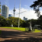 Sky Tower and NZ Navy monument