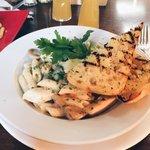 Chicken, bacon and mushroom pasta with garlic bread