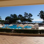 View from the hotel lobby to the pool.