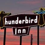 Thunderbird Inn Sign at dusk