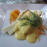 Steamed halibut with white asparagus and a lime Hollandaise