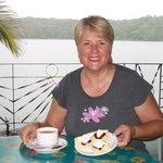 Wonderful scones with morning tea overlooking Lake Barrine