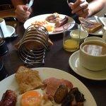 Demolishing the breakfast, sooo good