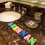We were greeted by colorful sponges spelled out my youngest's name. It made his day! ��