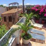 Roof garden overlooking the medieval rooftops ..