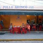 Eating outside at El Pollo Bronco