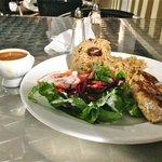 Creole Mahi Mahi with side salad and peas and rice