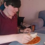 Eating duck with chips and a poppadom :)
