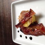 Yukon gold potato with bacon and dots of balsamic