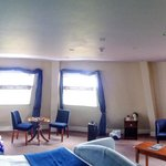 Panoramic view of our room showing the 3 huge windows.