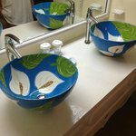 Basin sinks in our bathroom made by local artist from Pink Plantation House